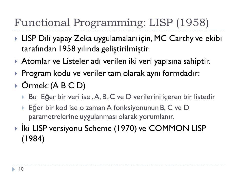 Functional Programming: LISP (1958) 10  LISP Dili yapay Zeka uygulamaları için, MC Carthy ve ekibi tarafından 1958 yılında geliştirilmiştir.  Atomla