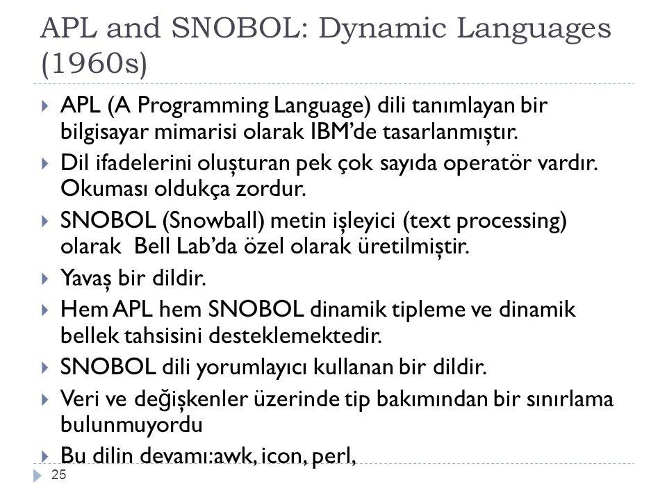 APL and SNOBOL: Dynamic Languages (1960s) 25  APL (A Programming Language) dili tanımlayan bir bilgisayar mimarisi olarak IBM'de tasarlanmıştır.  Di
