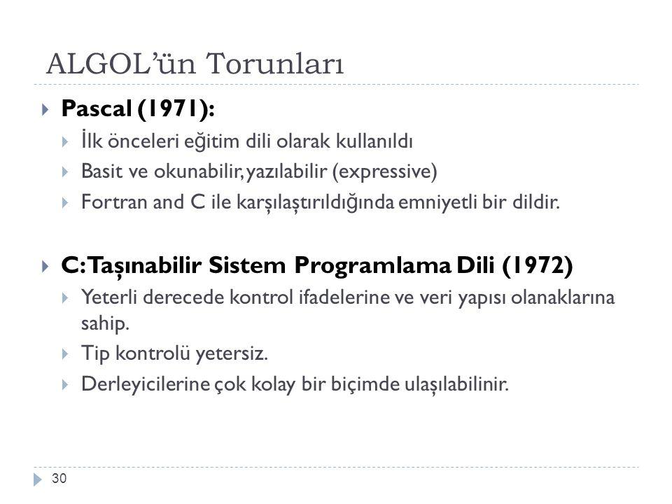 ALGOL'ün Torunları 30  Pascal (1971):  İ lk önceleri e ğ itim dili olarak kullanıldı  Basit ve okunabilir, yazılabilir (expressive)  Fortran and C