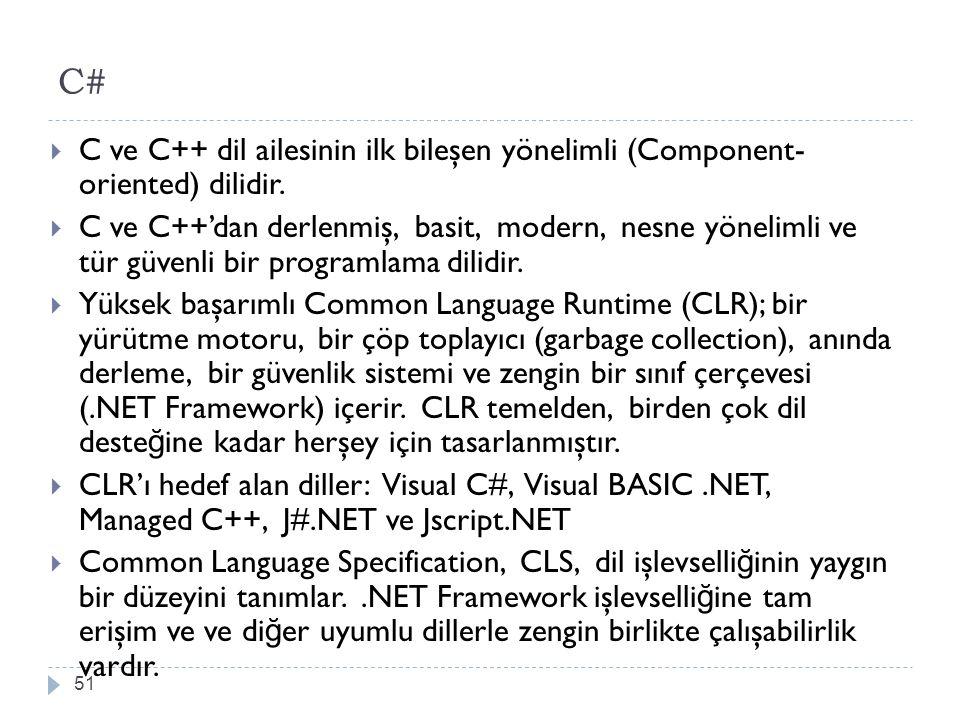 C# 51  C ve C++ dil ailesinin ilk bileşen yönelimli (Component- oriented) dilidir.  C ve C++'dan derlenmiş, basit, modern, nesne yönelimli ve tür gü
