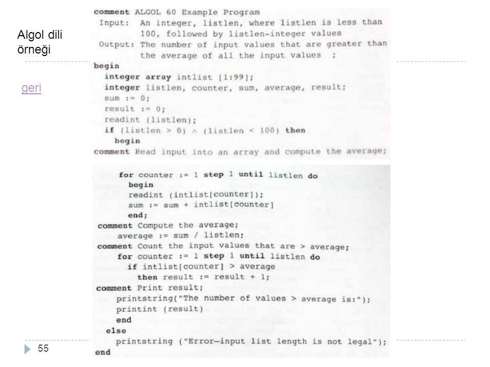 55 Algol dili örneği geri