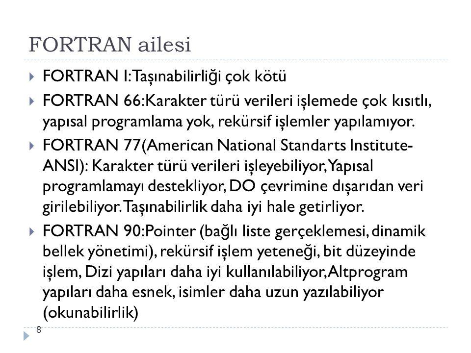 FORTRAN ailesi 8  FORTRAN I:Taşınabilirli ğ i çok kötü  FORTRAN 66:Karakter türü verileri işlemede çok kısıtlı, yapısal programlama yok, rekürsif iş