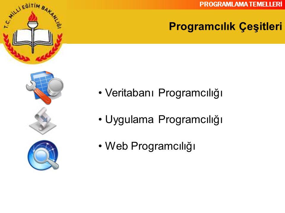 PROGRAMLAMA TEMELLERİ Programcılık Çeşitleri Veritabanı Programcılığı Uygulama Programcılığı Web Programcılığı