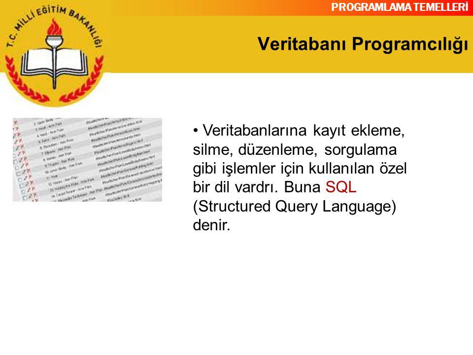 PROGRAMLAMA TEMELLERİ Veritabanı Programcılığı Veritabanlarına kayıt ekleme, silme, düzenleme, sorgulama gibi işlemler için kullanılan özel bir dil va