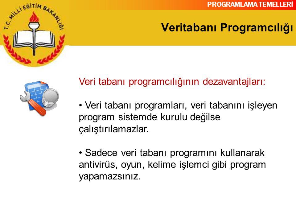 PROGRAMLAMA TEMELLERİ Veritabanı Programcılığı Veri tabanı programcılığının dezavantajları: Veri tabanı programları, veri tabanını işleyen program sis
