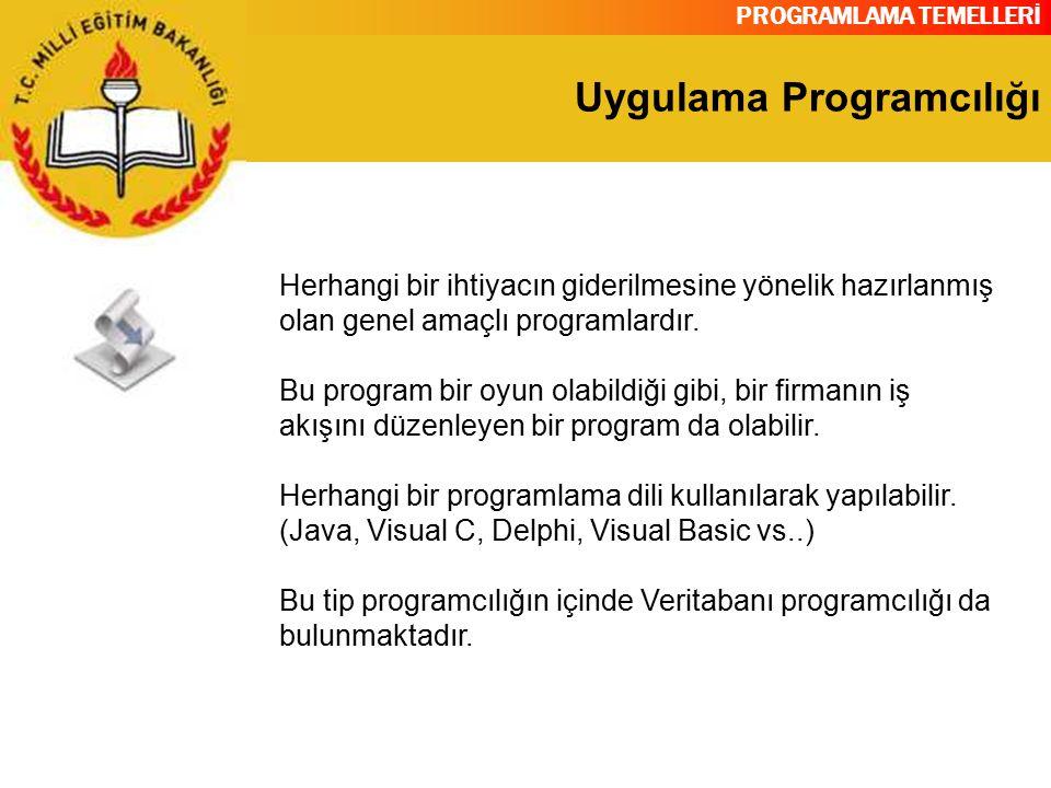 PROGRAMLAMA TEMELLERİ Uygulama Programcılığı Herhangi bir ihtiyacın giderilmesine yönelik hazırlanmış olan genel amaçlı programlardır. Bu program bir