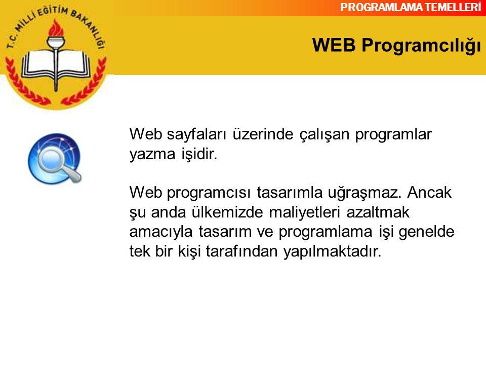 PROGRAMLAMA TEMELLERİ WEB Programcılığı Web sayfaları üzerinde çalışan programlar yazma işidir. Web programcısı tasarımla uğraşmaz. Ancak şu anda ülke