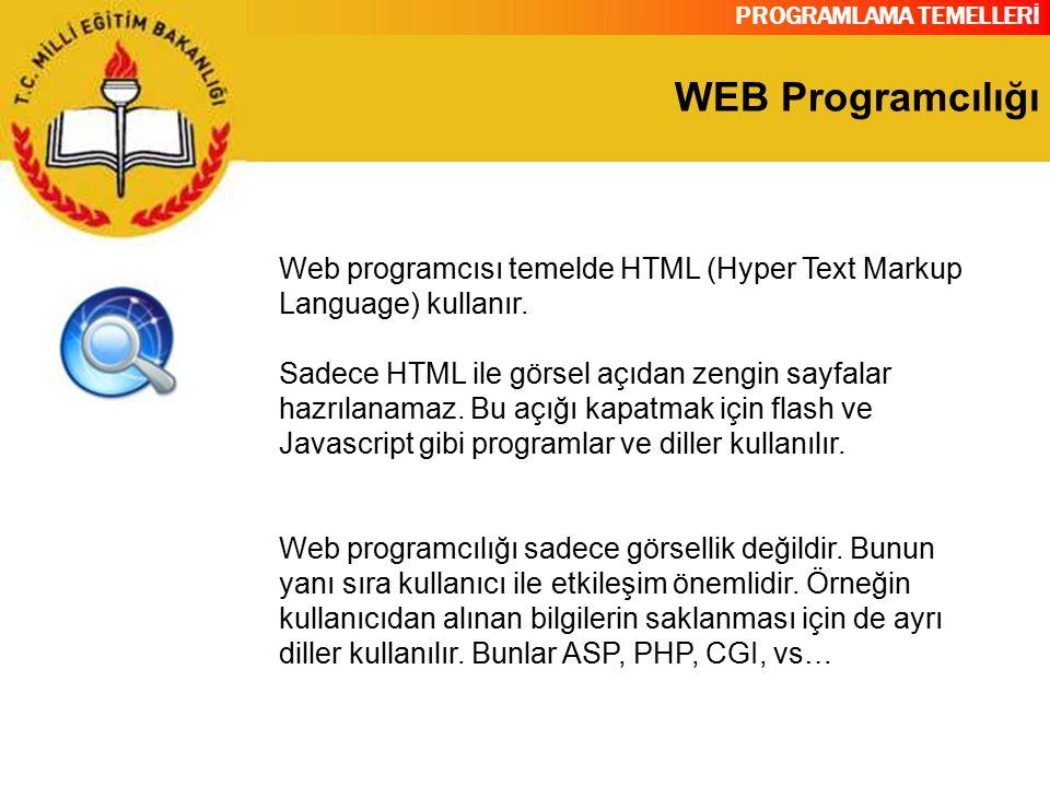 PROGRAMLAMA TEMELLERİ WEB Programcılığı Web programcısı temelde HTML (Hyper Text Markup Language) kullanır. Sadece HTML ile görsel açıdan zengin sayfa