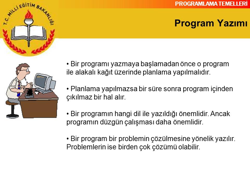 PROGRAMLAMA TEMELLERİ Program Yazımı Bir programı yazmaya başlamadan önce o program ile alakalı kağıt üzerinde planlama yapılmalıdır. Planlama yapılma