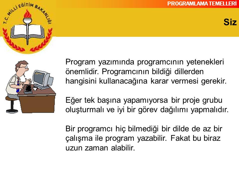 PROGRAMLAMA TEMELLERİ Siz Program yazımında programcının yetenekleri önemlidir. Programcının bildiği dillerden hangisini kullanacağına karar vermesi g