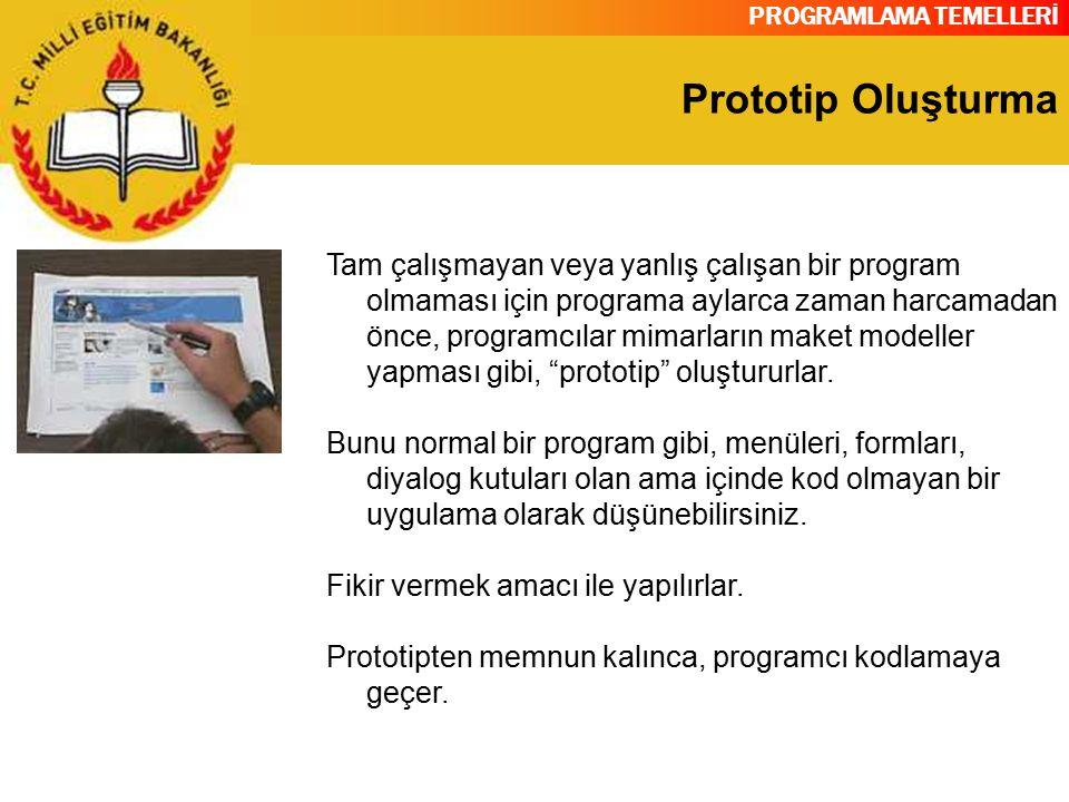 PROGRAMLAMA TEMELLERİ Prototip Oluşturma Tam çalışmayan veya yanlış çalışan bir program olmaması için programa aylarca zaman harcamadan önce, programc