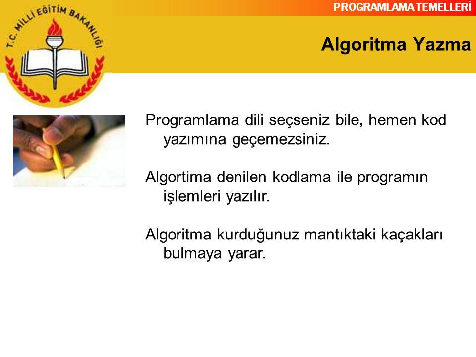 PROGRAMLAMA TEMELLERİ Algoritma Yazma Programlama dili seçseniz bile, hemen kod yazımına geçemezsiniz. Algortima denilen kodlama ile programın işlemle