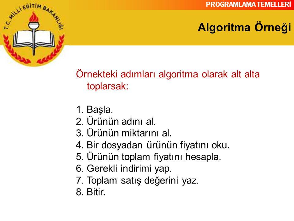 PROGRAMLAMA TEMELLERİ Algoritma Örneği Örnekteki adımları algoritma olarak alt alta toplarsak: 1. Başla. 2. Ürünün adını al. 3. Ürünün miktarını al. 4