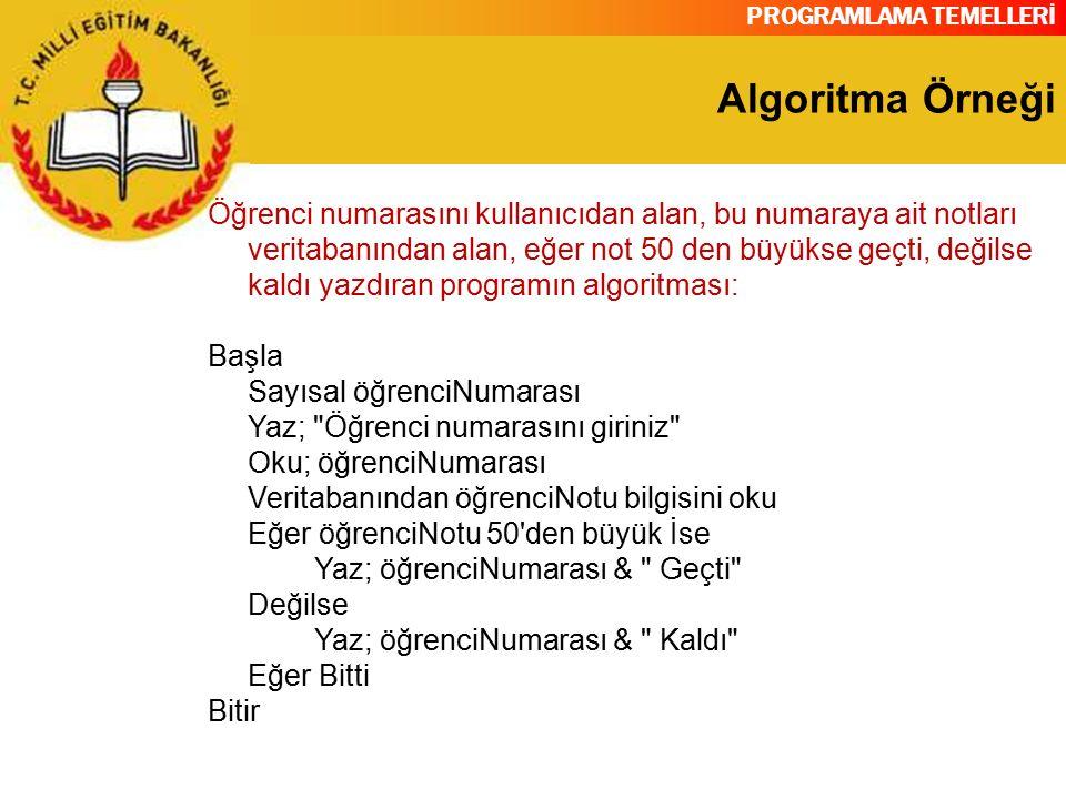 PROGRAMLAMA TEMELLERİ Algoritma Örneği Öğrenci numarasını kullanıcıdan alan, bu numaraya ait notları veritabanından alan, eğer not 50 den büyükse geçt
