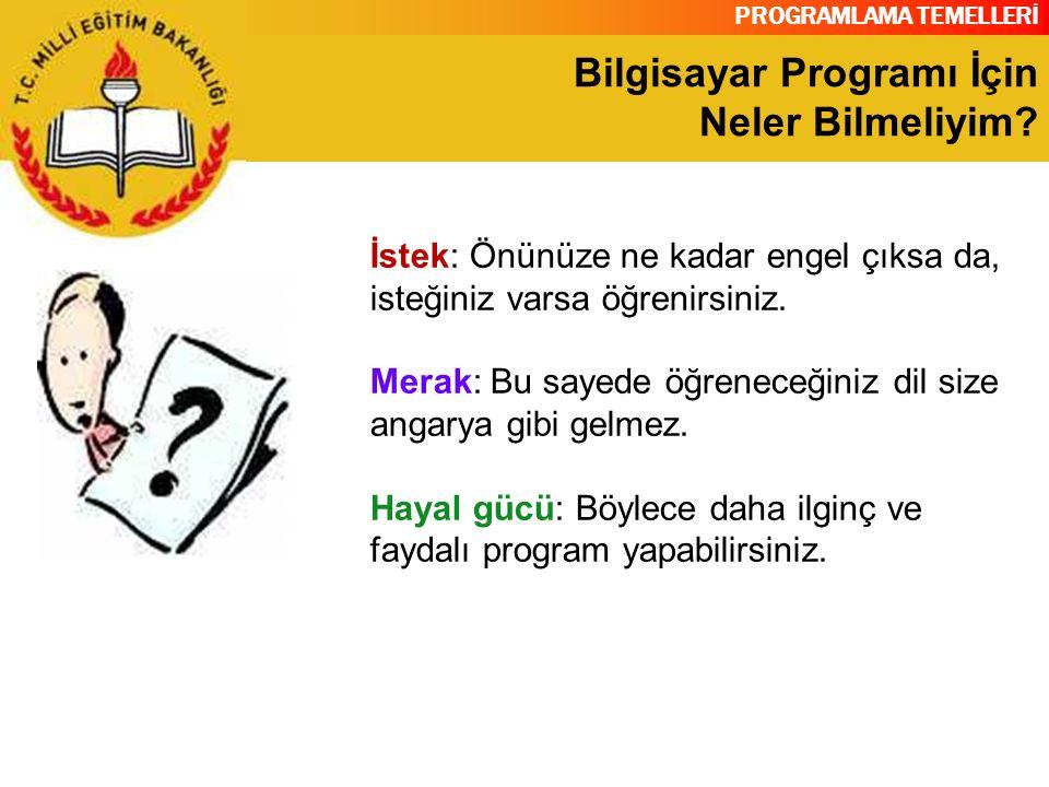 PROGRAMLAMA TEMELLERİ Programlama Dili Bilgisayar Türkçe, İngilizce veya başka bir dilden anlamaz.