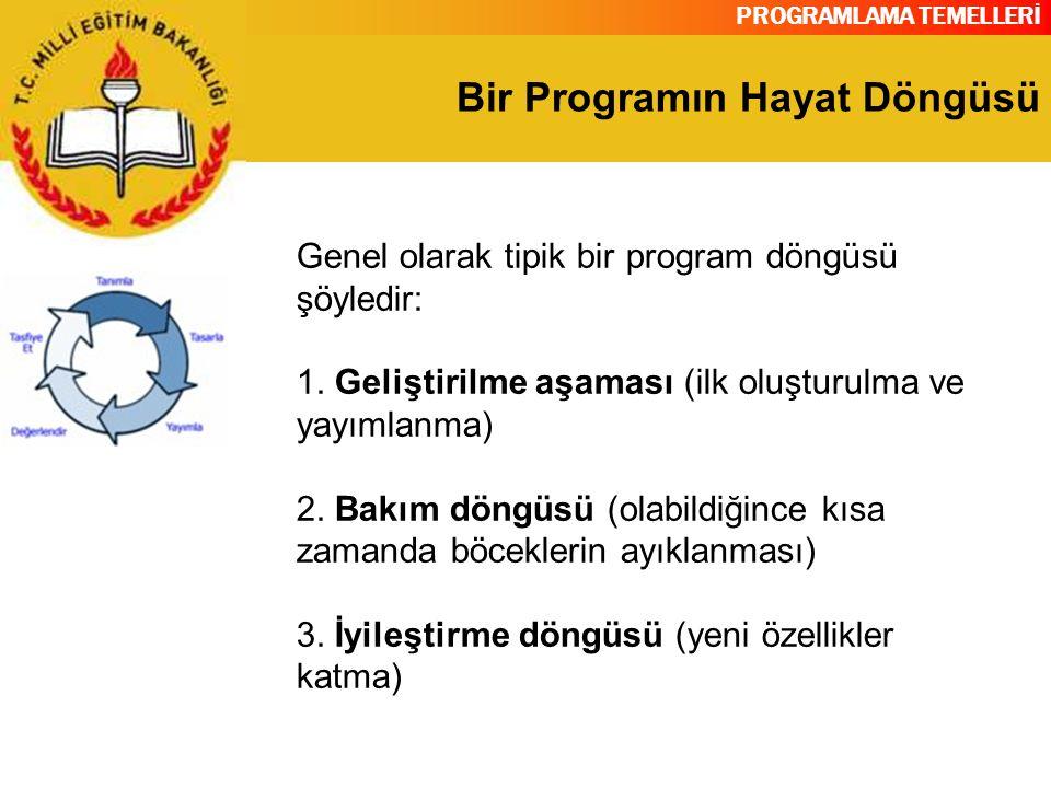 PROGRAMLAMA TEMELLERİ Bir Programın Hayat Döngüsü Genel olarak tipik bir program döngüsü şöyledir: 1. Geliştirilme aşaması (ilk oluşturulma ve yayımla