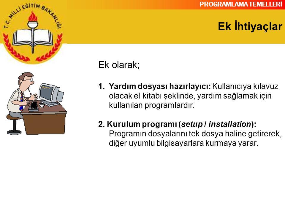 PROGRAMLAMA TEMELLERİ Ek İhtiyaçlar Ek olarak; 1.Yardım dosyası hazırlayıcı: Kullanıcıya kılavuz olacak el kitabı şeklinde, yardım sağlamak için kulla