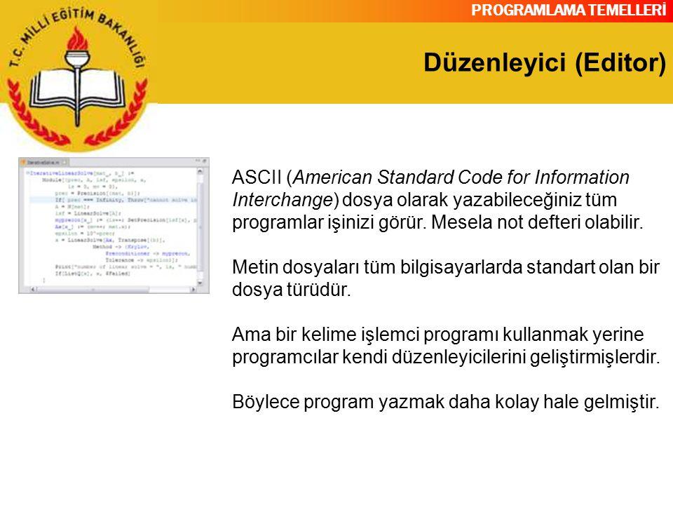 PROGRAMLAMA TEMELLERİ Düzenleyici (Editor) ASCII (American Standard Code for Information Interchange) dosya olarak yazabileceğiniz tüm programlar işin