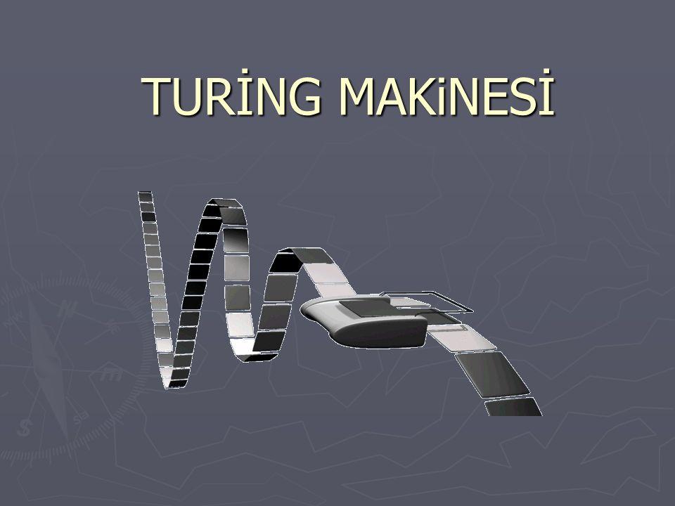 İÇERİK ► Alan Turing ► Karar Problemi ► Turing Makinesi ► Turing Makinesi Bölümleri ► Örnekler ► Turing Makinesi Çeşitleri ► Evrensel Turing Makinesi ► Turing Testi