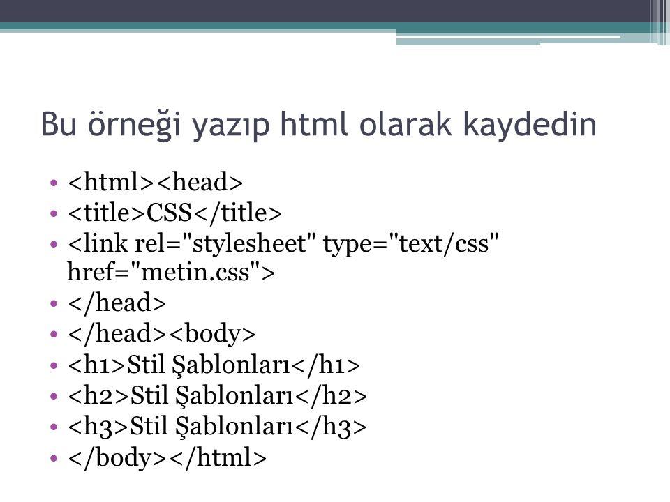 Bu örneği yazıp html olarak kaydedin CSS Stil Şablonları