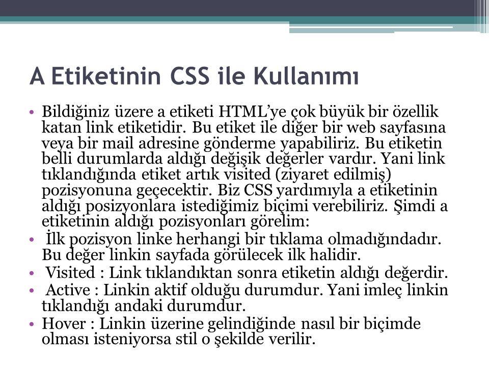 A Etiketinin CSS ile Kullanımı Bildiğiniz üzere a etiketi HTML'ye çok büyük bir özellik katan link etiketidir.