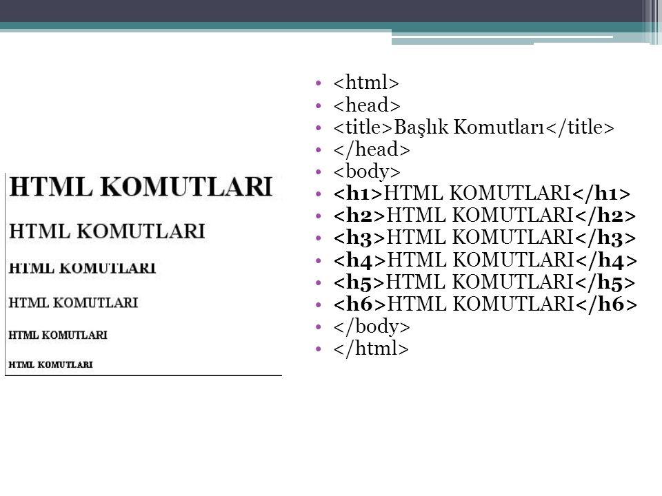 Başlık Komutları HTML KOMUTLARI