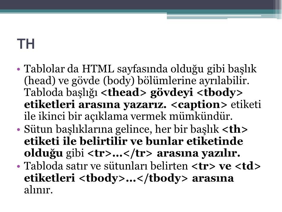 TH Tablolar da HTML sayfasında olduğu gibi başlık (head) ve gövde (body) bölümlerine ayrılabilir.