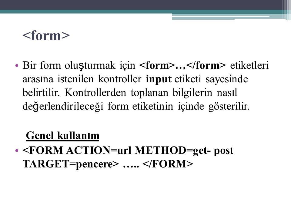 Bir form olu ş turmak için … etiketleri aras ı na istenilen kontroller input etiketi sayesinde belirtilir.