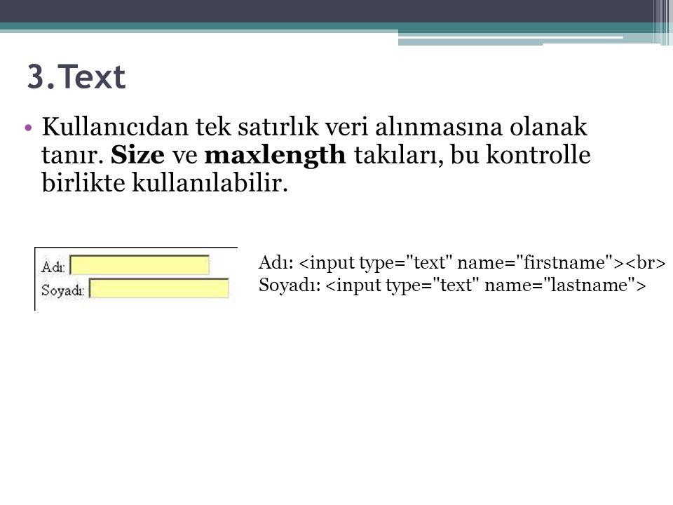 3.Text Kullanıcıdan tek satırlık veri alınmasına olanak tanır.