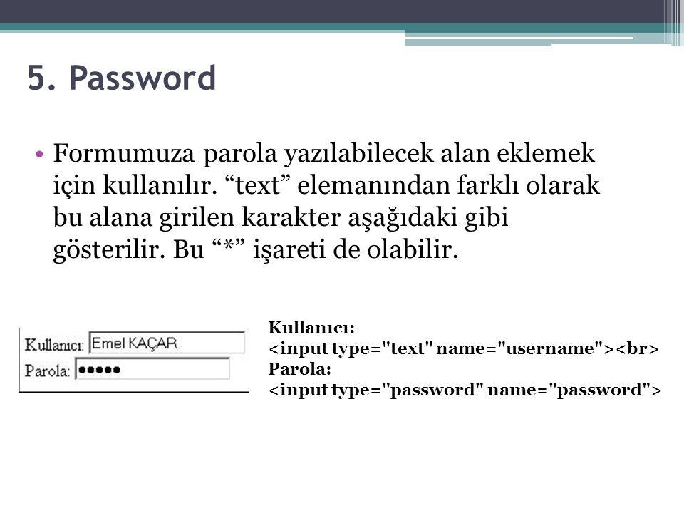 5.Password Formumuza parola yazılabilecek alan eklemek için kullanılır.