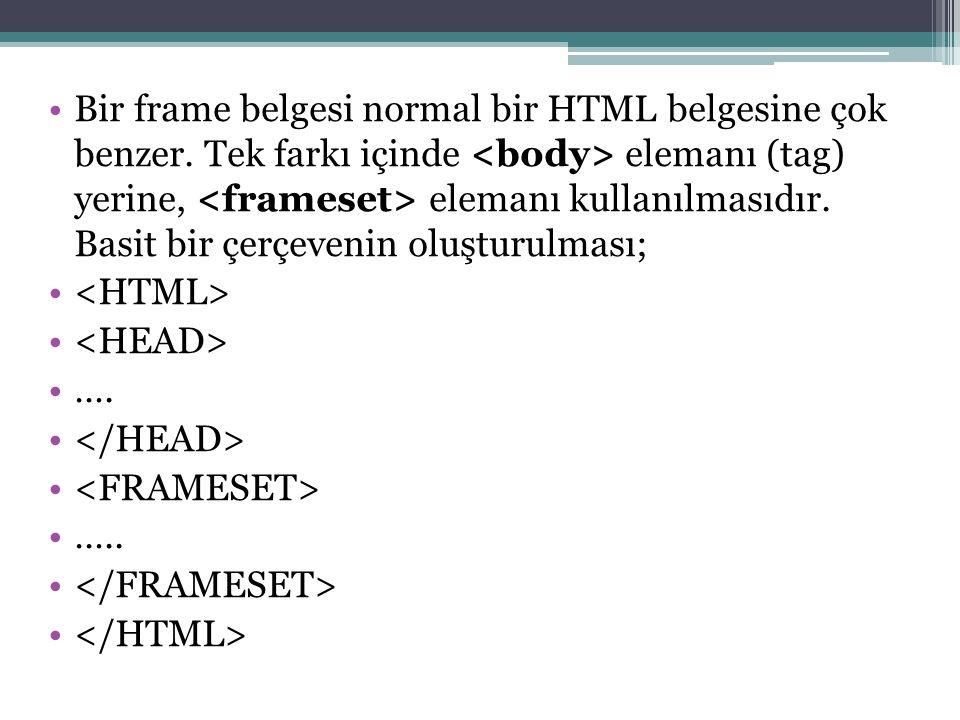 Bir frame belgesi normal bir HTML belgesine çok benzer.