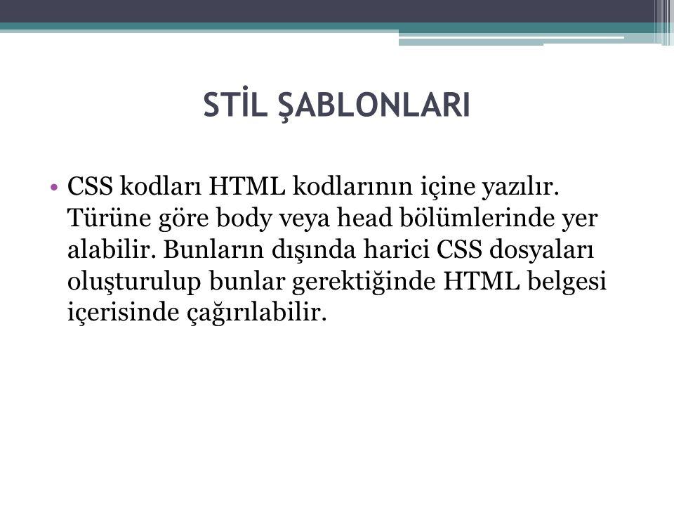 STİL ŞABLONLARI CSS kodları HTML kodlarının içine yazılır.