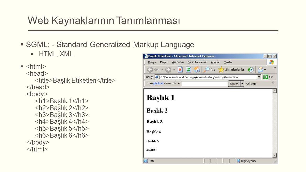 Web Kaynaklarının Tanımlanması  SGML; - Standard Generalized Markup Language  HTML, XML  Başlık Etiketleri Başlık 1 Başlık 2 Başlık 3 Başlık 4 Başlık 5 Başlık 6