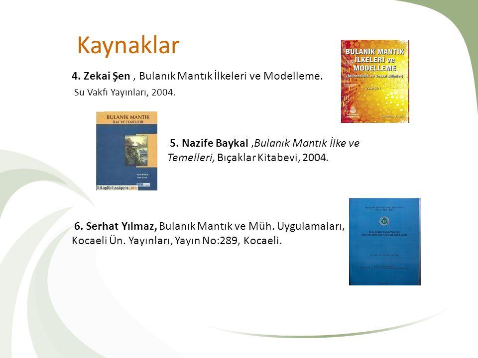 Kaynaklar 4. Zekai Şen, Bulanık Mantık İlkeleri ve Modelleme. Su Vakfı Yayınları, 2004. 5. Nazife Baykal,Bulanık Mantık İlke ve Temelleri, Bıçaklar Ki