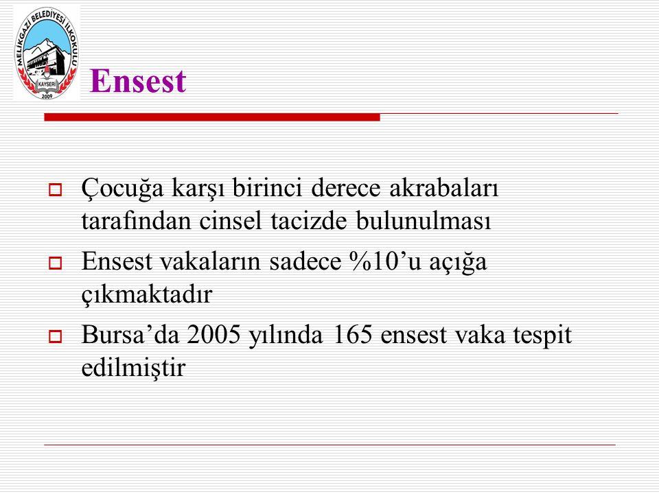 Ensest  Çocuğa karşı birinci derece akrabaları tarafından cinsel tacizde bulunulması  Ensest vakaların sadece %10'u açığa çıkmaktadır  Bursa'da 2005 yılında 165 ensest vaka tespit edilmiştir