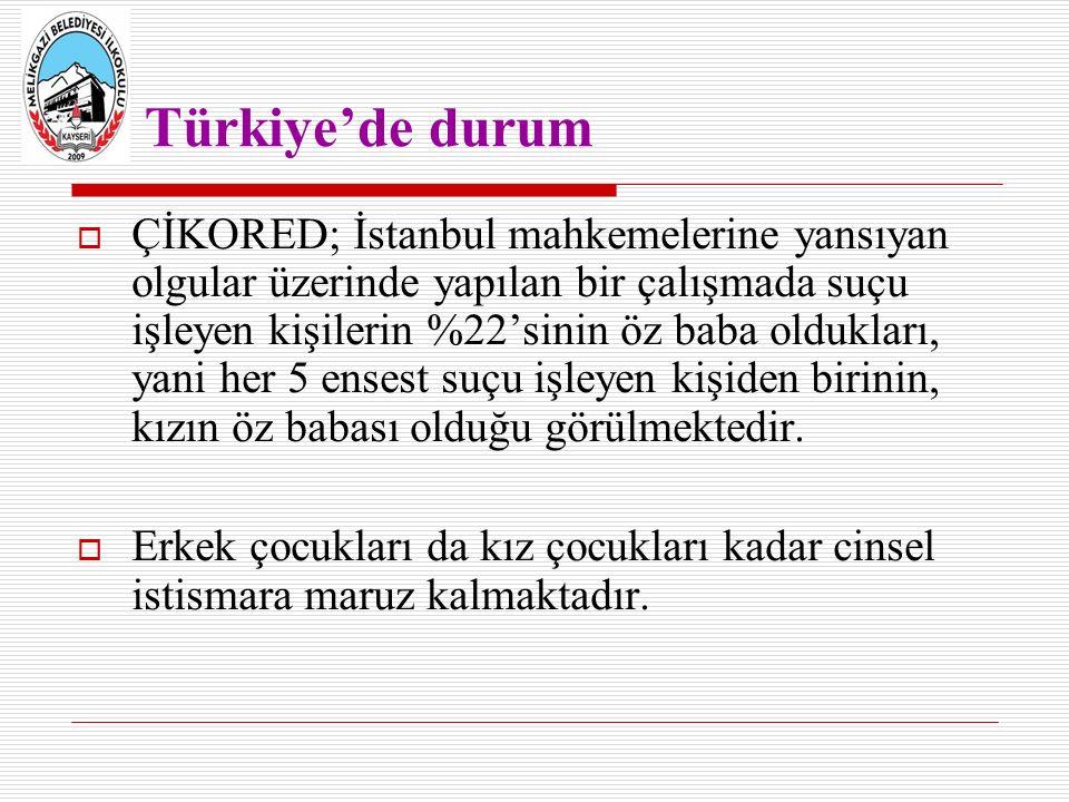 Türkiye'de durum  ÇİKORED; İstanbul mahkemelerine yansıyan olgular üzerinde yapılan bir çalışmada suçu işleyen kişilerin %22'sinin öz baba oldukları, yani her 5 ensest suçu işleyen kişiden birinin, kızın öz babası olduğu görülmektedir.