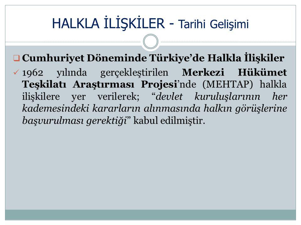 HALKLA İLİŞKİLER - Tarihi Gelişimi  Cumhuriyet Döneminde Türkiye'de Halkla İlişkiler 1962 yılında gerçekleştirilen Merkezi Hükümet Teşkilatı Araştırması Projesi'nde (MEHTAP) halkla ilişkilere yer verilerek; devlet kuruluşlarının her kademesindeki kararların alınmasında halkın görüşlerine başvurulması gerektiği kabul edilmiştir.