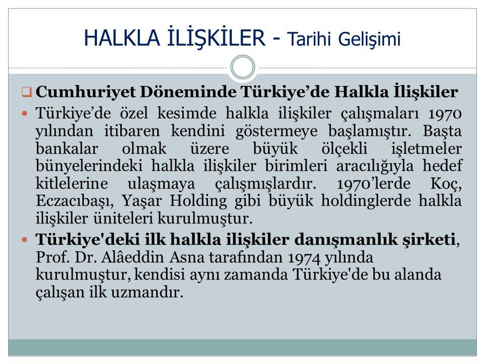 HALKLA İLİŞKİLER - Tarihi Gelişimi  Cumhuriyet Döneminde Türkiye'de Halkla İlişkiler Türkiye'de özel kesimde halkla ilişkiler çalışmaları 1970 yılından itibaren kendini göstermeye başlamıştır.
