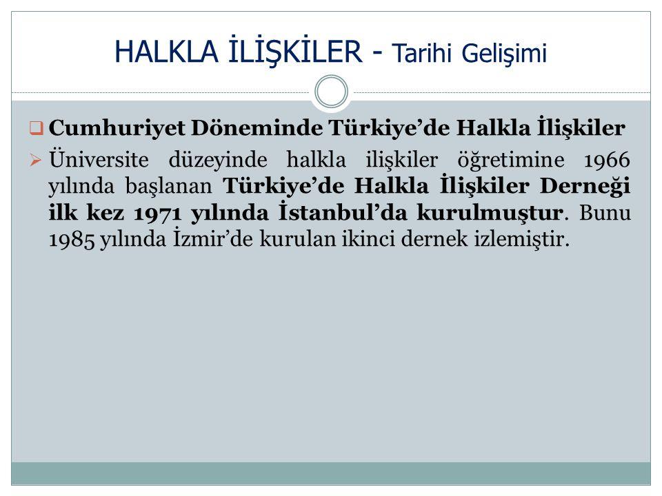 HALKLA İLİŞKİLER - Tarihi Gelişimi  Cumhuriyet Döneminde Türkiye'de Halkla İlişkiler  Üniversite düzeyinde halkla ilişkiler öğretimine 1966 yılında başlanan Türkiye'de Halkla İlişkiler Derneği ilk kez 1971 yılında İstanbul'da kurulmuştur.