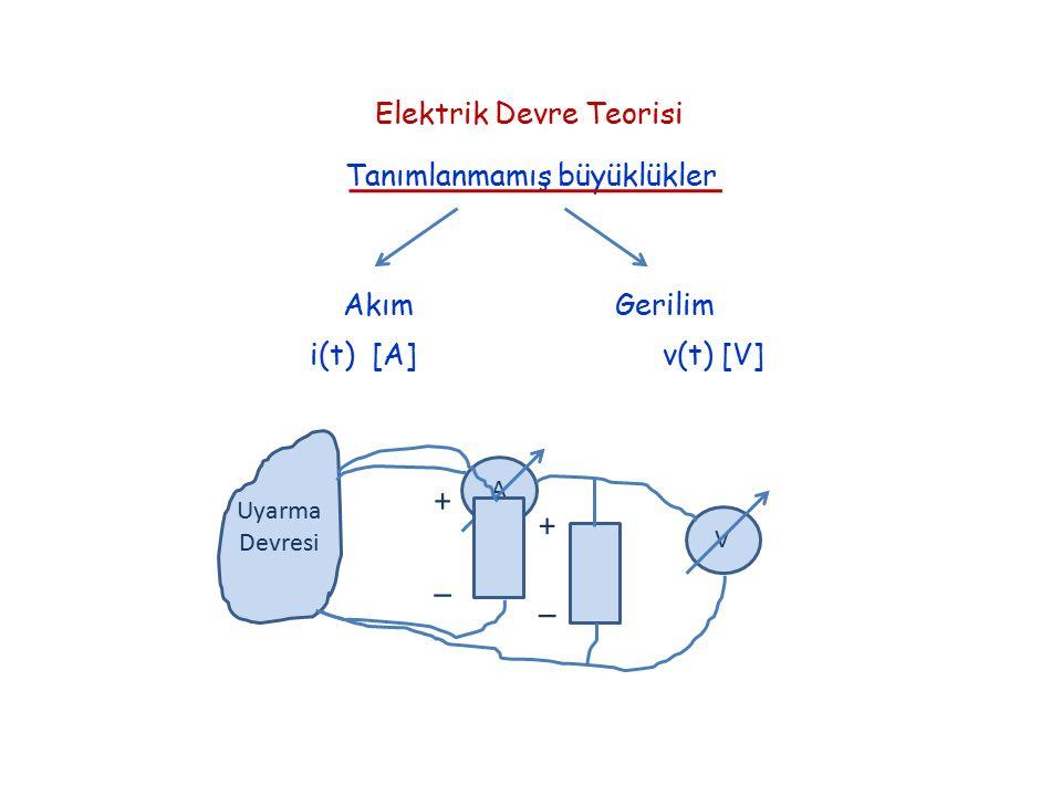 Elektrik Devre Teorisi Tanımlanmamış büyüklükler Akım Gerilim i(t) [A] v(t) [V] Uyarma Devresi A V + _ + _