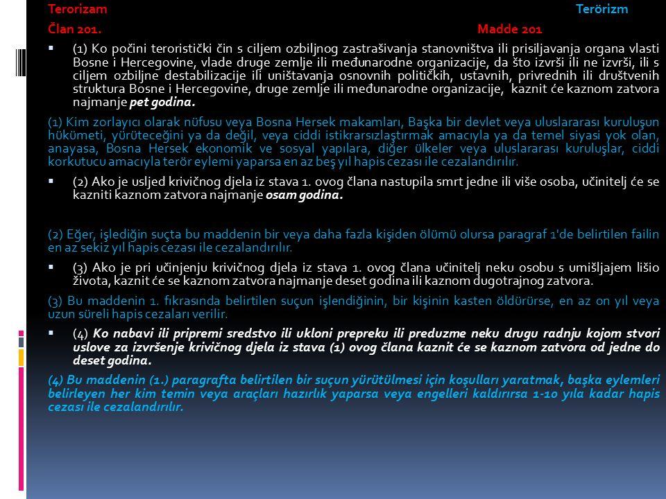 Terorizam Terörizm Član 201.