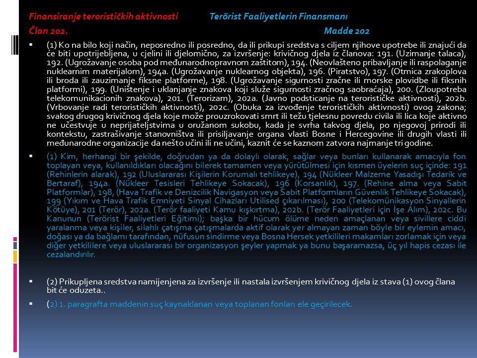 Finansiranje terorističkih aktivnosti Terörist Faaliyetlerin Finansmanı Član 202.