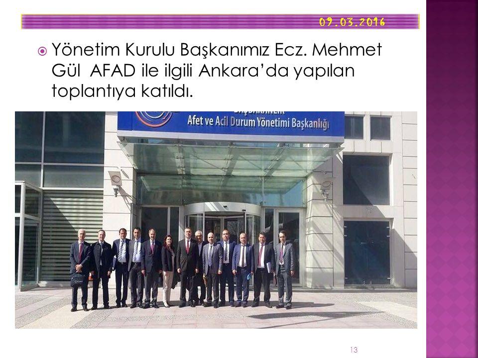  Yönetim Kurulu Başkanımız Ecz. Mehmet Gül AFAD ile ilgili Ankara'da yapılan toplantıya katıldı.