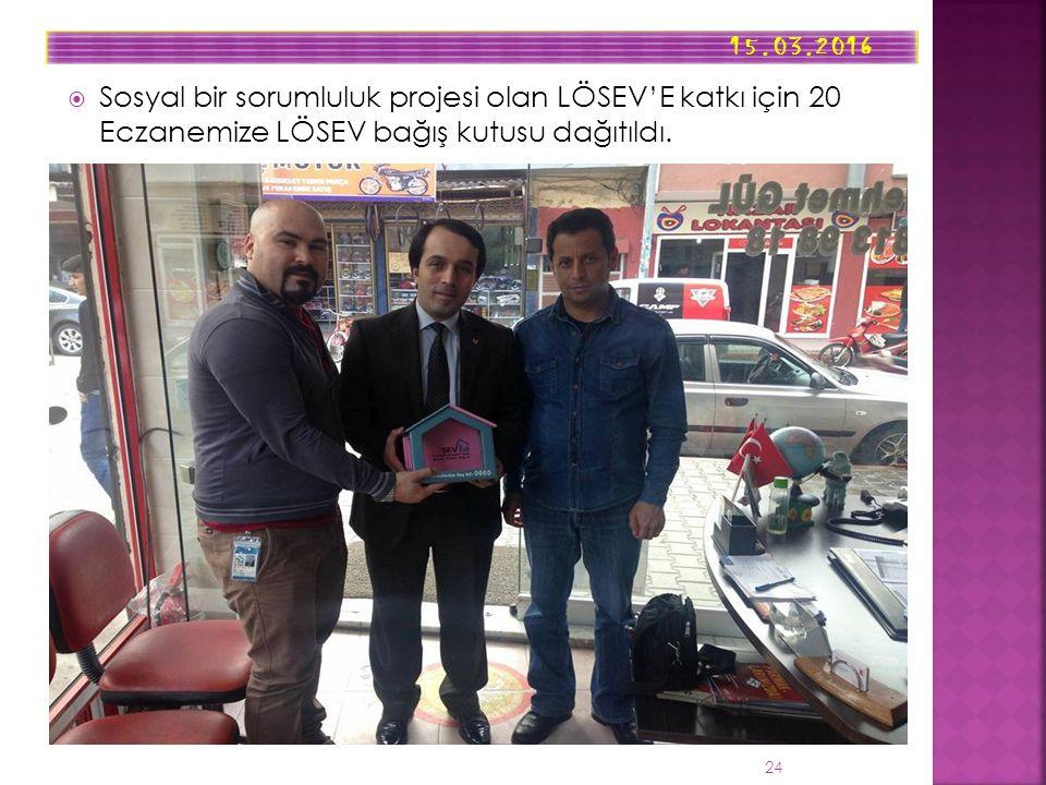  Sosyal bir sorumluluk projesi olan LÖSEV'E katkı için 20 Eczanemize LÖSEV bağış kutusu dağıtıldı.