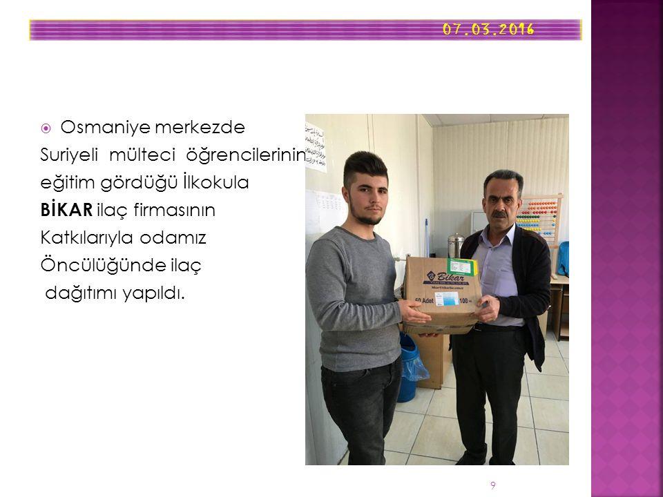  Osmaniye merkezde Suriyeli mülteci öğrencilerinin eğitim gördüğü İlkokula BİKAR ilaç firmasının Katkılarıyla odamız Öncülüğünde ilaç dağıtımı yapıldı.