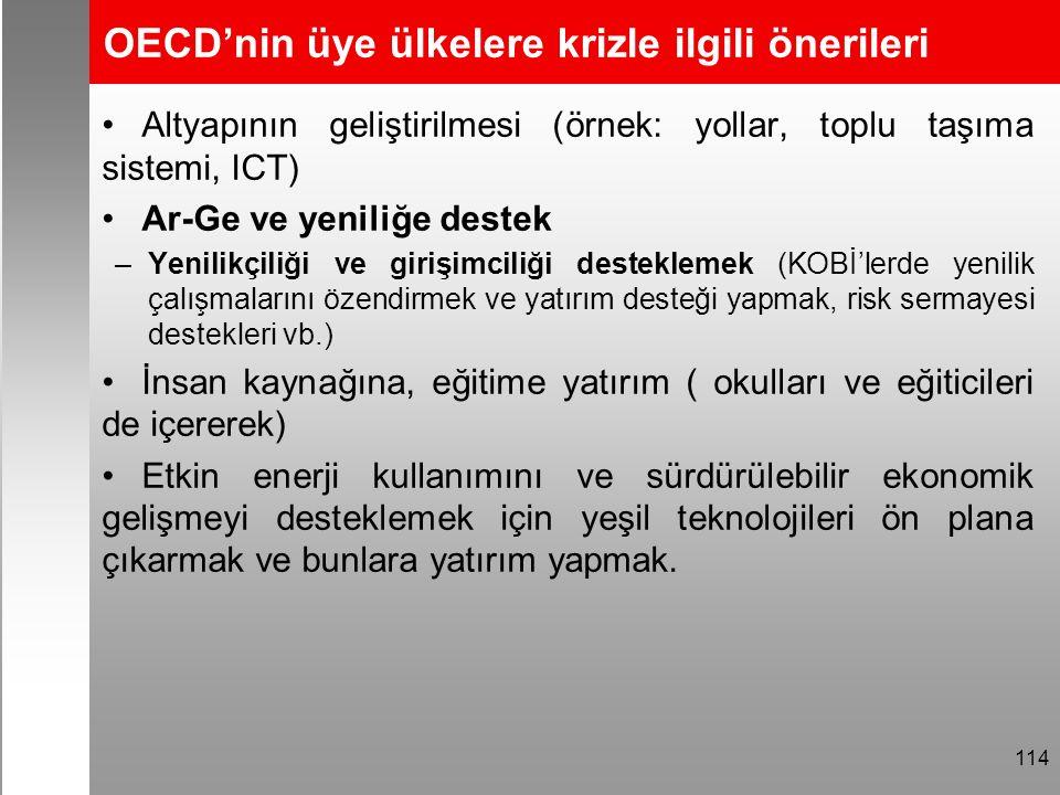 OECD'nin üye ülkelere krizle ilgili önerileri Altyapının geliştirilmesi (örnek: yollar, toplu taşıma sistemi, ICT) Ar-Ge ve yeniliğe destek –Yenilikçi