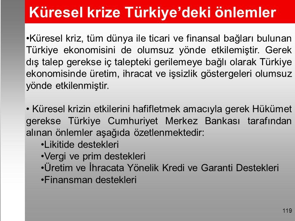 Küresel krize Türkiye'deki önlemler 119 Küresel kriz, tüm dünya ile ticari ve finansal bağları bulunan Türkiye ekonomisini de olumsuz yönde etkilemiştir.
