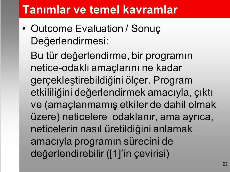 Tanımlar ve temel kavramlar Outcome Evaluation / Sonuç Değerlendirmesi: Bu tür değerlendirme, bir programın netice-odaklı amaçlarını ne kadar gerçekleştirebildiğini ölçer.