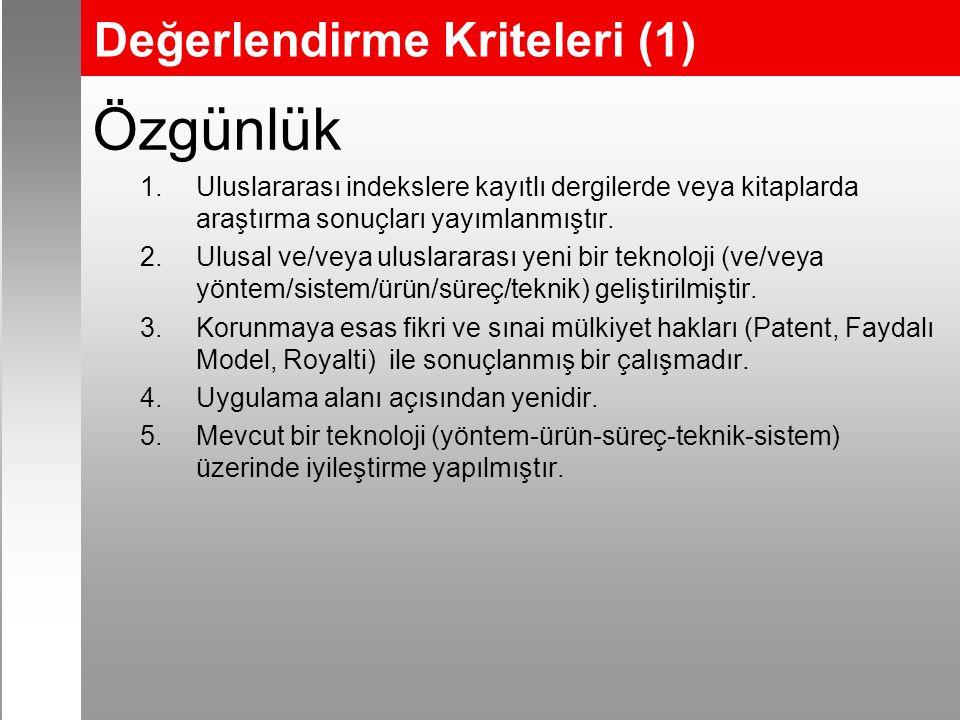 Değerlendirme Kriteleri (1) Özgünlük 1.Uluslararası indekslere kayıtlı dergilerde veya kitaplarda araştırma sonuçları yayımlanmıştır.