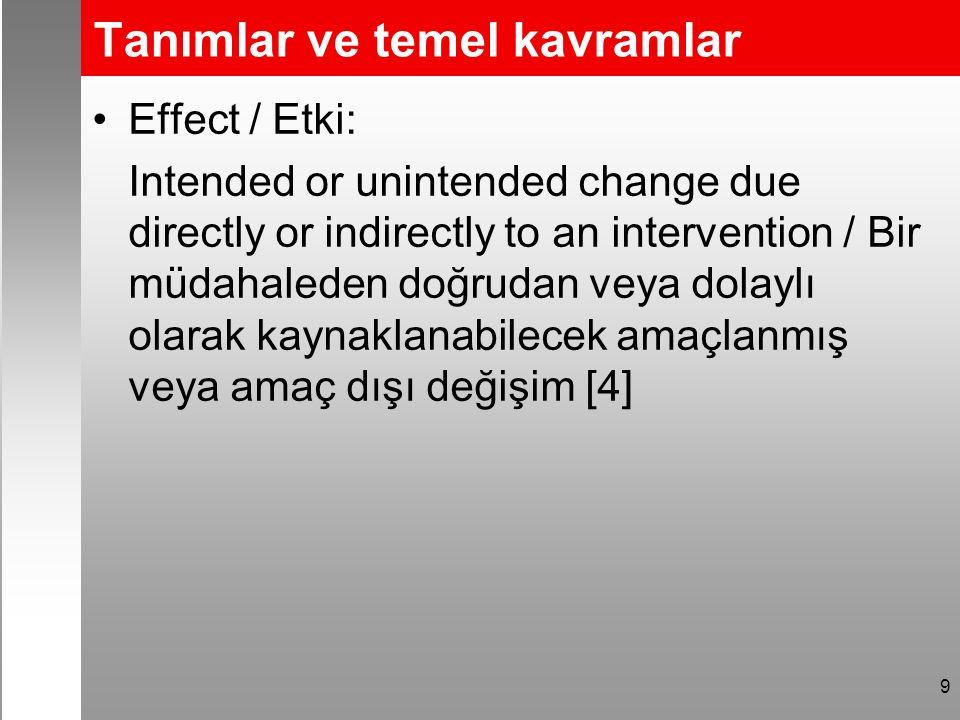 Tanımlar ve temel kavramlar Effect / Etki: Intended or unintended change due directly or indirectly to an intervention / Bir müdahaleden doğrudan veya dolaylı olarak kaynaklanabilecek amaçlanmış veya amaç dışı değişim [4] 9